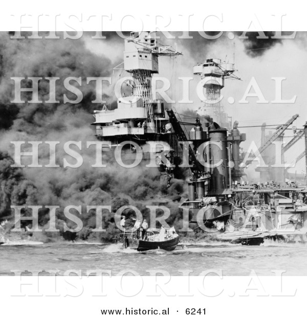 Historical Photo of People Getting Rescued After the Bombing of Pearl Harbor - Black and White Version