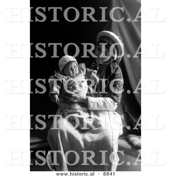 Historical Photo of Ramallah Lady Holding Her Baby on Lap - Black and White Version