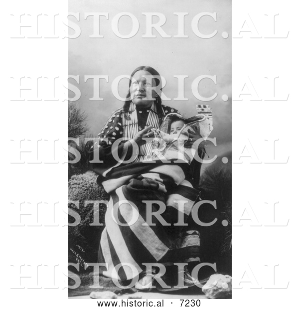 Historical Photo of Red Deer, Sioux Indian, with Baby 1900 - Black and White