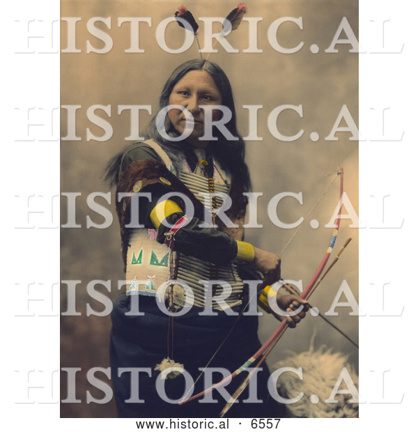 Historical Photo of Shout At, a Native American Oglala Indian, Armed with Bow and Arrows