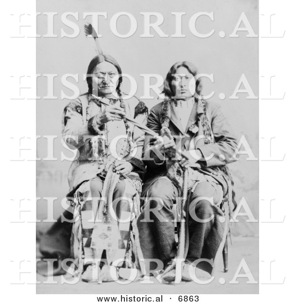 Historical Photo of Sitting Bull and One Bull 1884 - Native American Indians - Black and White Version