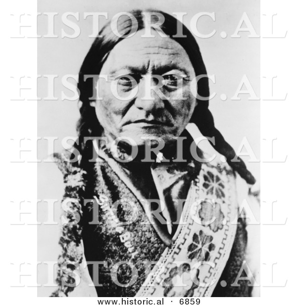 Historical Photo of Sitting Bull (Slon-he) 1885 Portrait - Native American Indian - Black and White Version