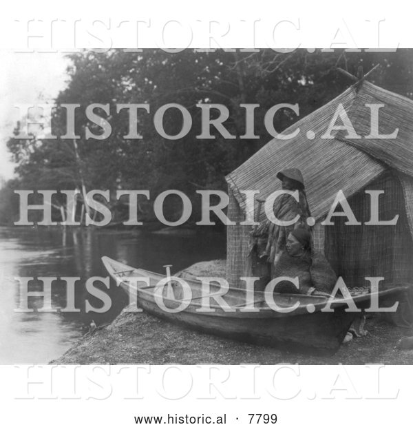 Historical Photo of Skokomish Fishing Camp 1913 - Black and White