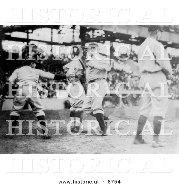 Historical Photo of the Great Bambino, Babe Ruth, Making a Home Run in 1921 - Black and White Version