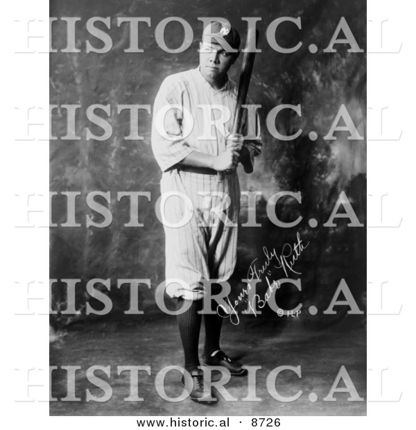 Historical Photo of the Great Bambino, Babe Ruth, Posing with Baseball Bat 1920 - Black and White Version