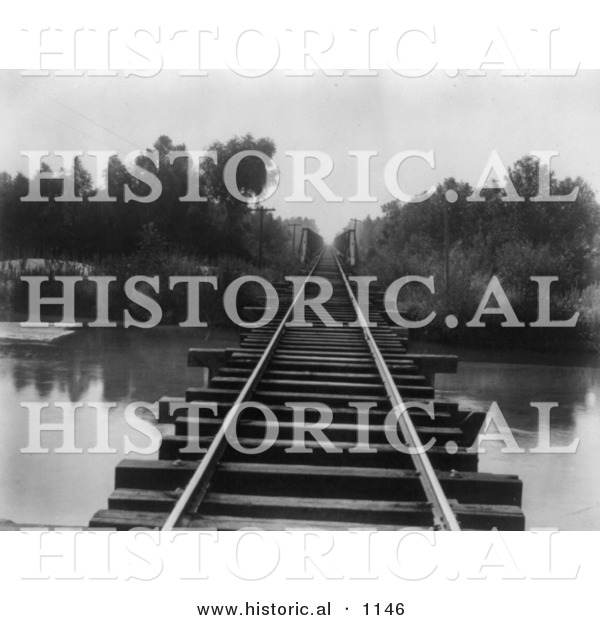 Historical Photo of Train Tracks at Southern Pacific Railroad Bridge over Calloway Canal in Kern County, California - Black and White Version