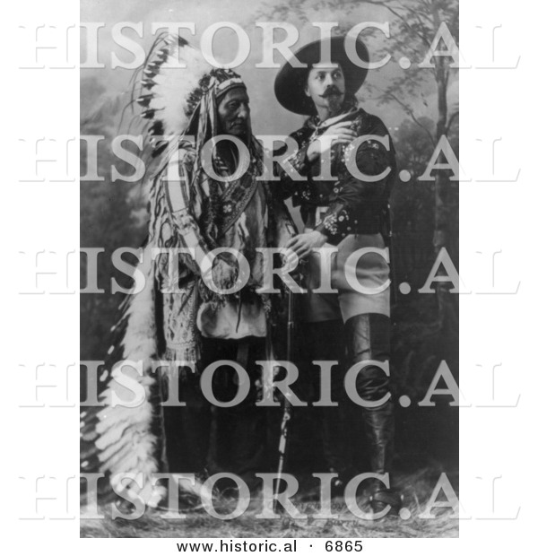 Historical Photo of William F Cody (Buffalo Bill) Standing with Sitting Bull 1897 - Black and White Version