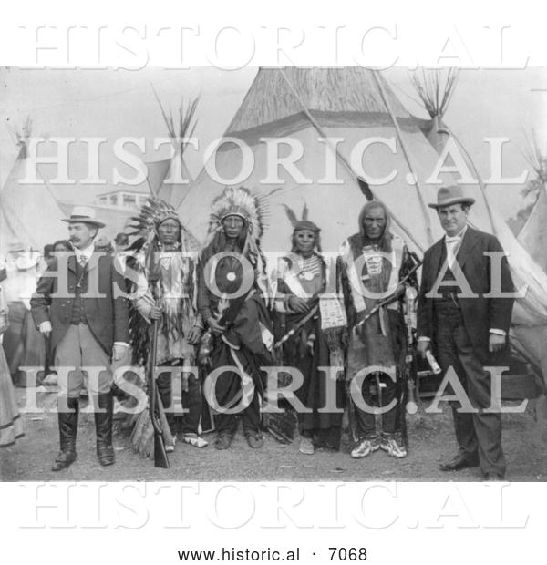 Historical Photo of William Jennings Bryan and Sioux Chiefs 1901 - Black and White
