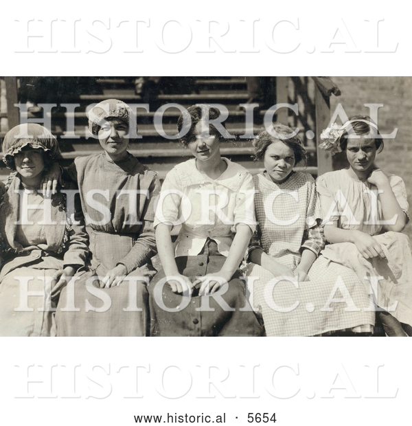 Historical Photo of Young Mill Worker Girls Taking a Break in 1913