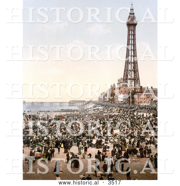 Historical Photochrom of a Busy Beach, North Pier and Royal Hotel near the Tower in Blackpool, Lancashire, England