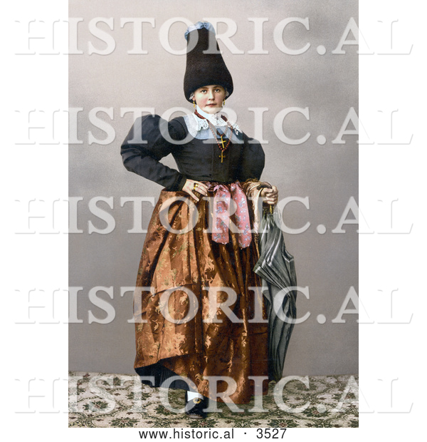 Historical Photochrom of a Girl from Grodenthal, Grodertal, Tyrol, Austria, in Traditional Dress