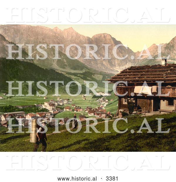 Historical Photochrom of a House at Engelberg Valley