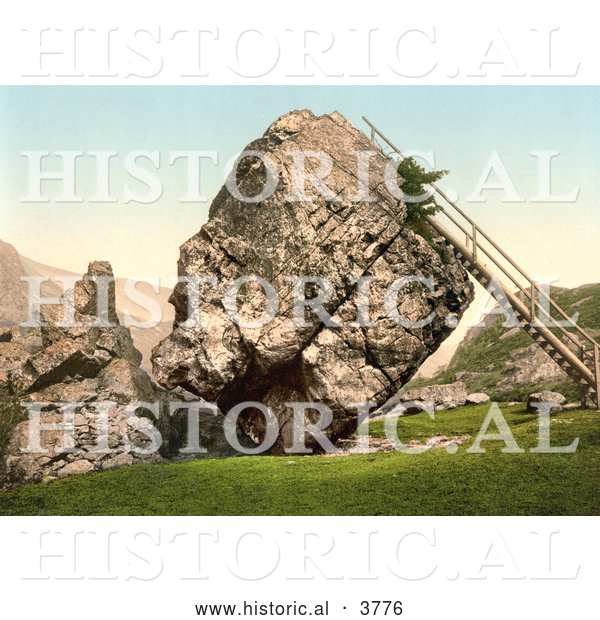 Historical Photochrom of a Ladder Leading up to the Top of the Large Bowder Stone in Borrowdale Keswick Lake District Cumbria England UK