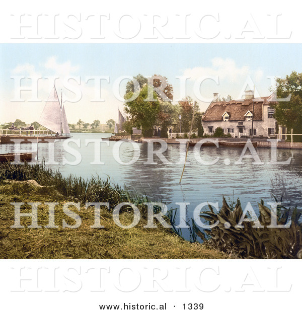 Historical Photochrom of a Sailboat near a Carriage on a Ferry, Crossing the River Bure in Horning Norfolk England