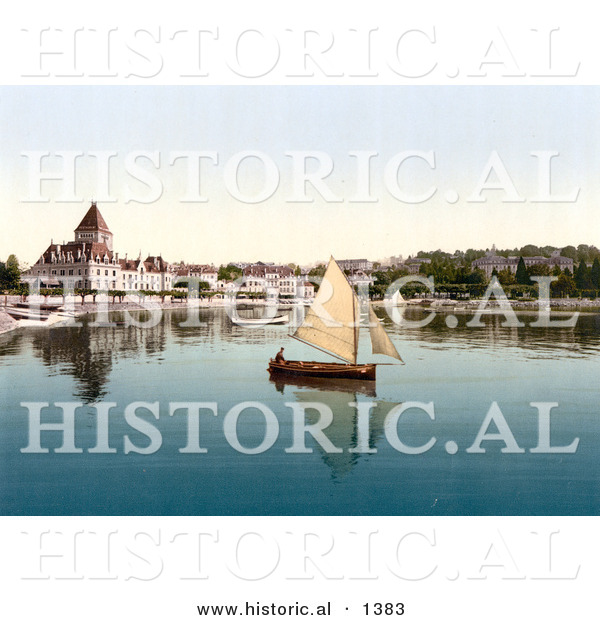 Historical Photochrom of a Sailboat on Geneva Lake at Ouchy, Lausanne, Switzerland