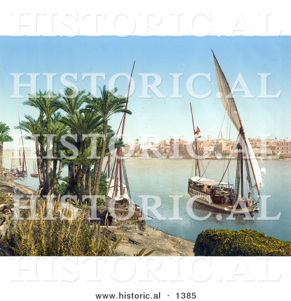 Historical Photochrom of a Sailing Boat on the Nile, Cairo, Egypt