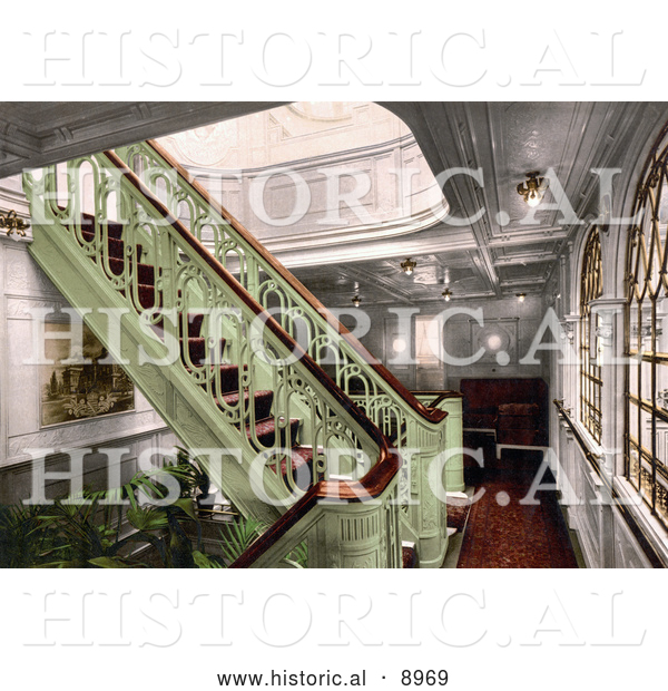 Historical Photochrom of a Staircase on the Konig Albert, North German Lloyd, Royal Mail Steamers