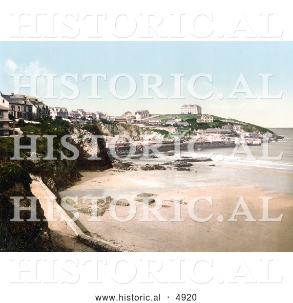 Historical Photochrom of Buildings on the Cliffs Above the Beach in Newquay, Cornwall, England, United Kingdom
