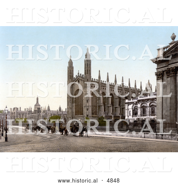 Historical Photochrom of Carriages in Front of the King's College Chapel in Cambridge, Cambridgeshire, England, United Kingdom
