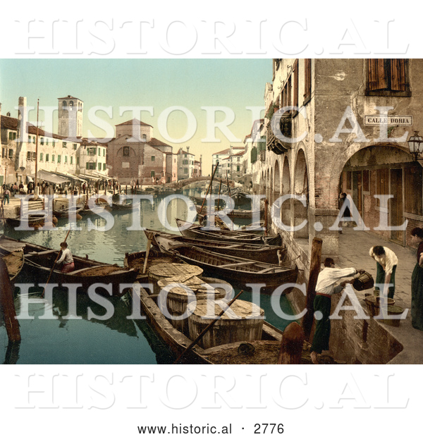 Historical Photochrom of Chioggia, Fish Market, Venice, Italy