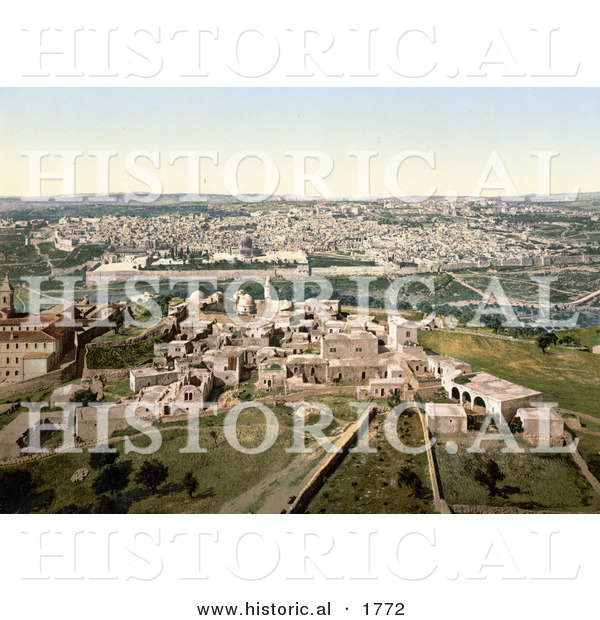 Historical Photochrom of Cityscape View of Jerusalem, Israel
