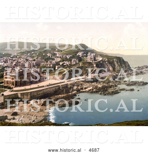 Historical Photochrom of Coastal Hotels and Town of Ilfracombe in Devon England