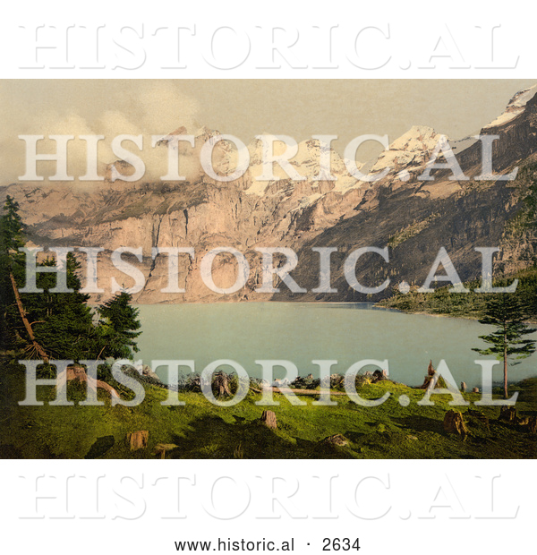 Historical Photochrom of Oeschinen Lake and Mountains in Switzerland