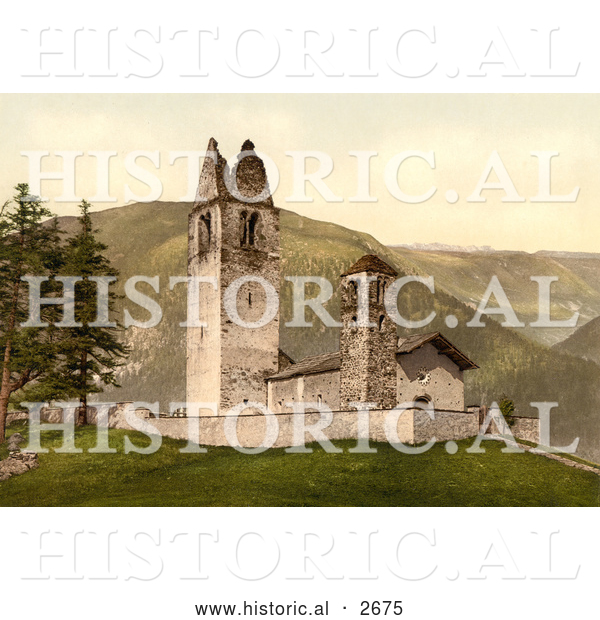 Historical Photochrom of Old Church, Celerina, Schlarigna, Switzerland