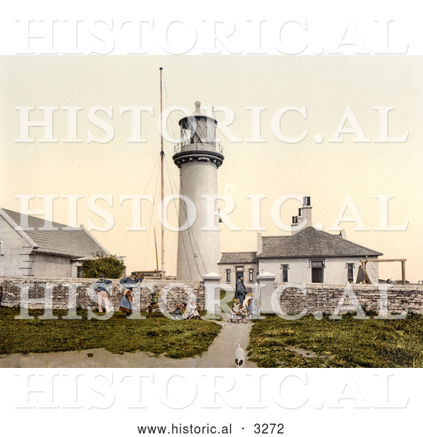 Historical Photochrom of People and a Dog at the Lighthouse on Heligoland, Germany