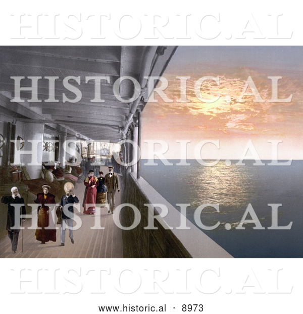 Historical Photochrom of People Strolling on the Promenade Deck of a Steamship at Sunset