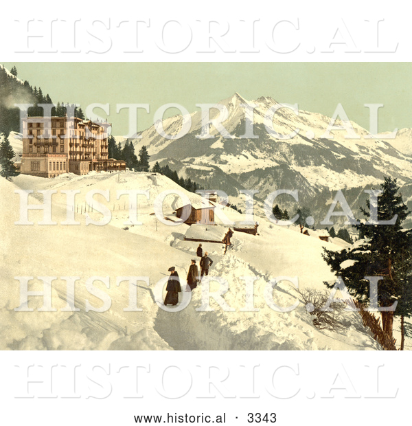 Historical Photochrom of People Walking in a Snow Path, Leysin, Switzerland
