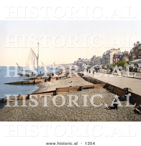 Historical Photochrom of Sailboats Along the Promenade in Herne Bay Kent England