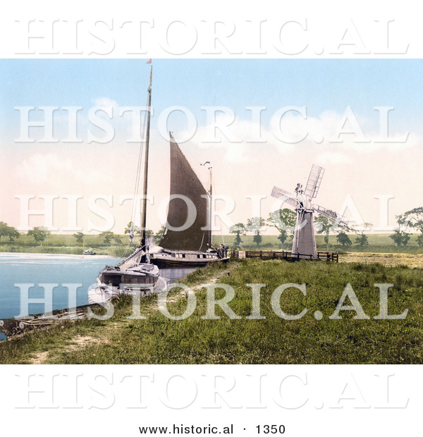 Historical Photochrom of Sailboats by a Windmill at Horning Village Norfolk England