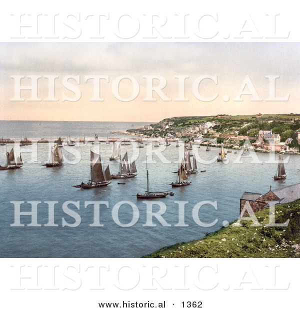Historical Photochrom of Sailboats in the Harbour at Brixham, Devon, England, United Kingdom
