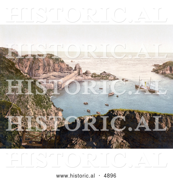 Historical Photochrom of Ships down Below in the Creux Harbor in Sark, Channel Islands, England