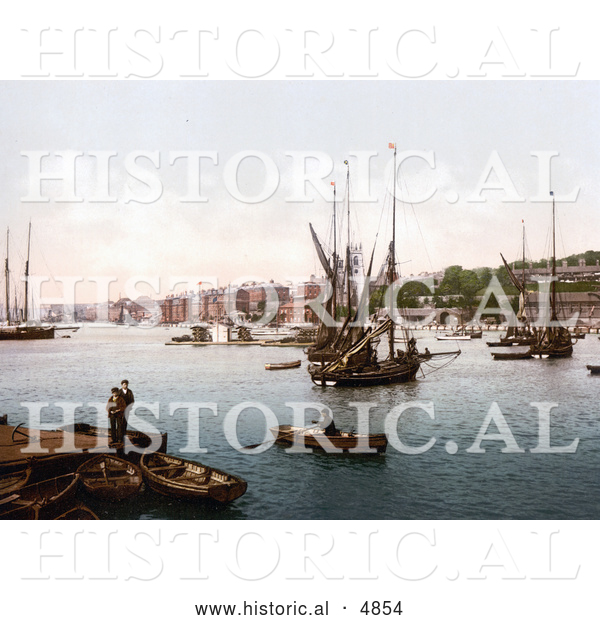 Historical Photochrom of Ships on the River Medway in Chatham, Kent, England, United Kingdom