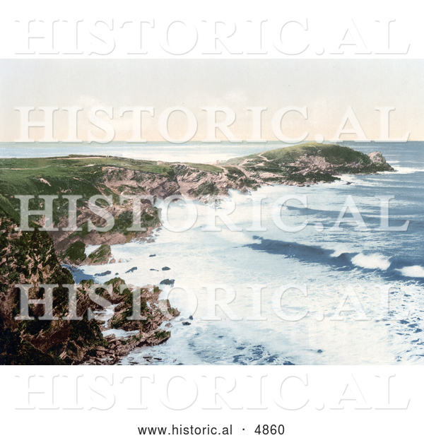 Historical Photochrom of the Coast of Newquay, Towan Head, Cornwall, England