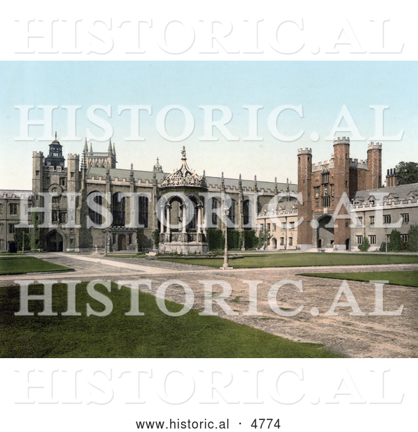 Historical Photochrom of the Great Court and Fountain and Great Gate at Trinity College, Cambridge, Cambridgeshire, England, UK