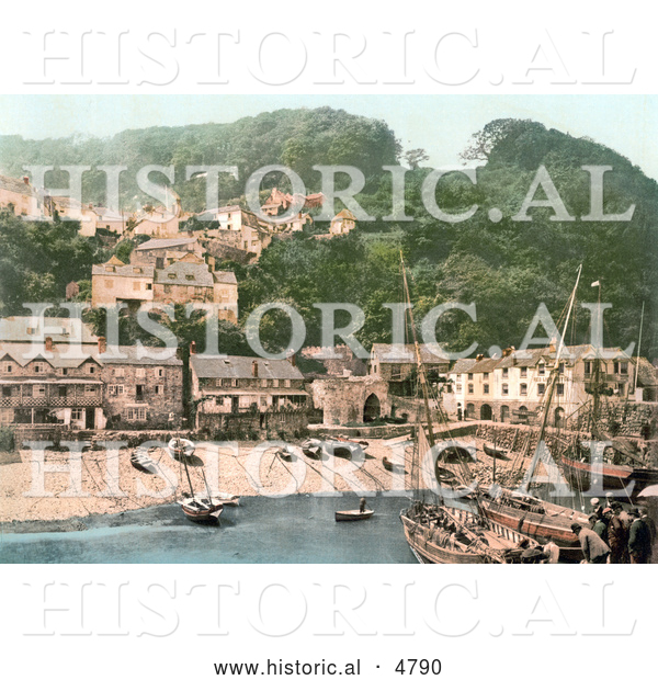Historical Photochrom of the Harbor and Red Lion Hotel in Clovelly Devon England