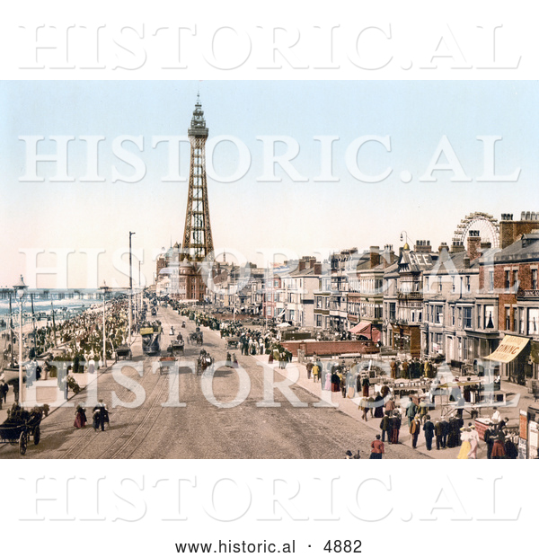 Historical Photochrom of the Promenade near the Tower in Blackpool, Lancashire, England