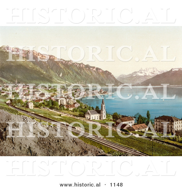 Historical Photochrom of the Village of Montreux on the Shore of Geneva Lake in Switzerland