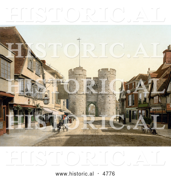 Historical Photochrom of the West Gate to the City of Canterbury, Kent, England, UK