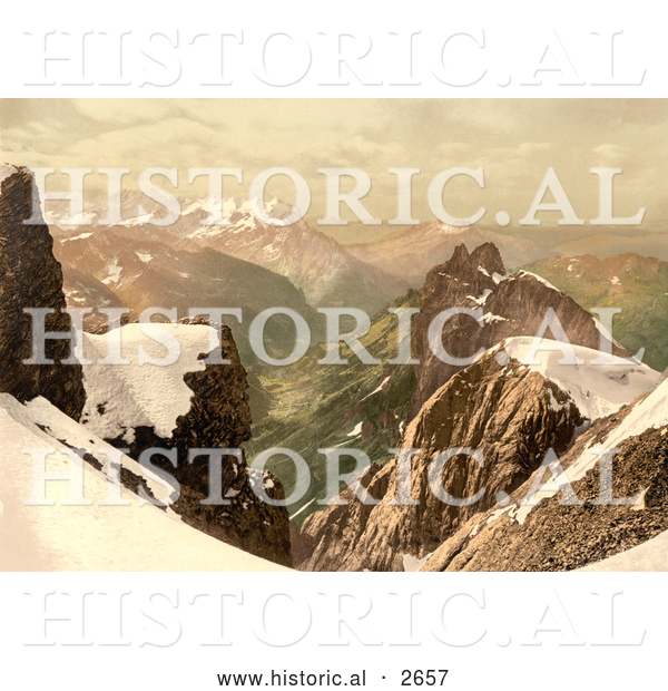 Historical Photochrom of Titlis Mountain in the Swiss Alps