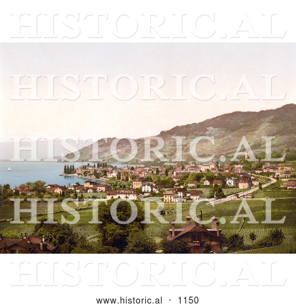 Historical Photochrom of Vineyards and Village of Vevey on Geneva Lake, Switzerland