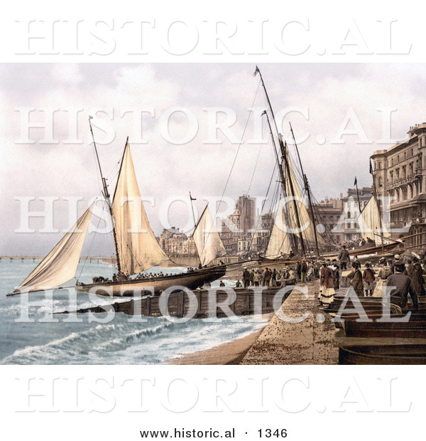 Historical Photochrom of Yachts and Waterfront Buildings in Hastings Sussex England