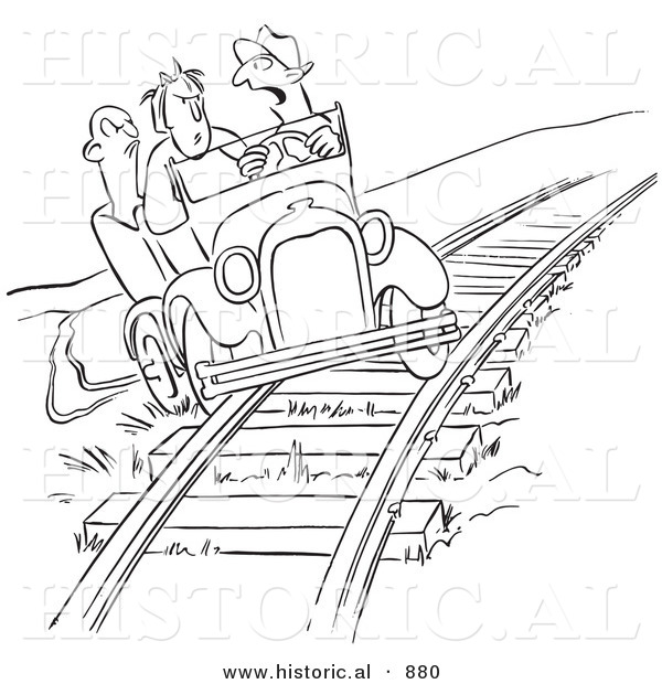 Historical Vector Cartoon of Late Employees Taking a Shortcut on the Railroad Tracks with an Old Car - Black and White Outlined Version