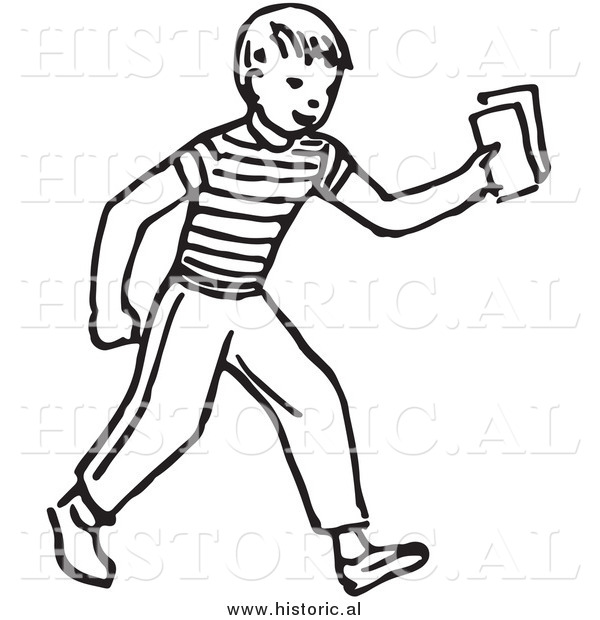 Historical Vector Clipart of a Smiling Boy Delivering Blank Rectangle Papers - Outline