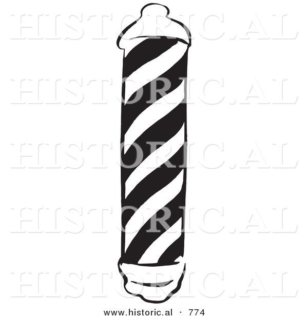Vector Illustration of a Barber Shop Pole - Black and White VersionBarber Pole Black And White
