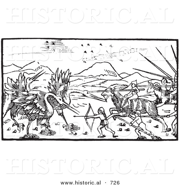 Historical Vector Illustration of a Battle Between Cranes and Pygmies - Black and White Version