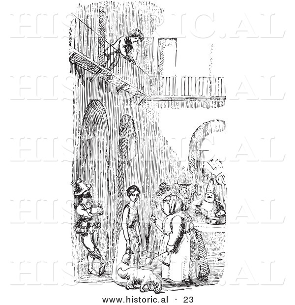Historical Vector Illustration of a Boy over a Courtyard with People - Black and White Version